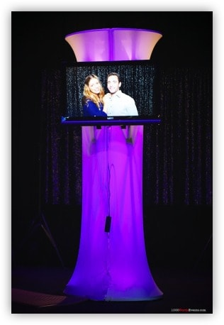 1000 Words photo booth rentals with purple led light and 32 inch screen