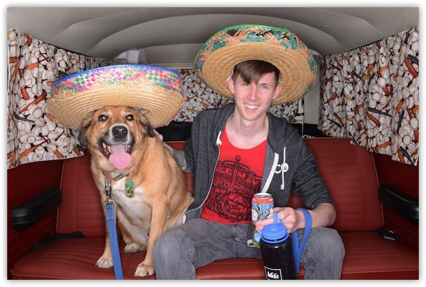 Boy and his dog in a volkswagon van 1000 Words VW Photo Bus photo booth 1968 VW van