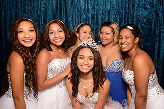 six young girls at a young girl at a Quinceañera