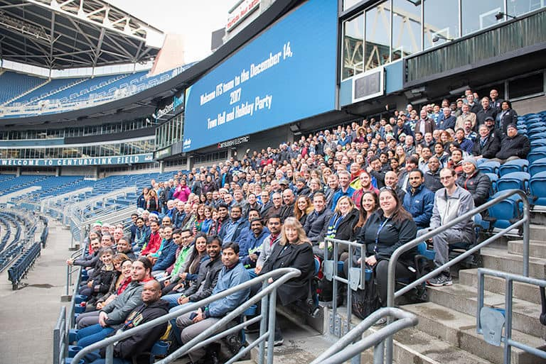 Group Photo of Alaska Airlines Employees at Century Link Field