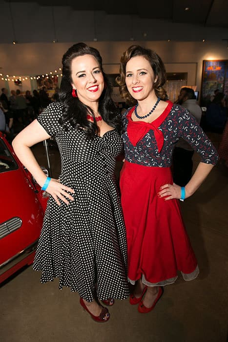 Two women dressed in 50s costumes at Museum of glass Tacoma
