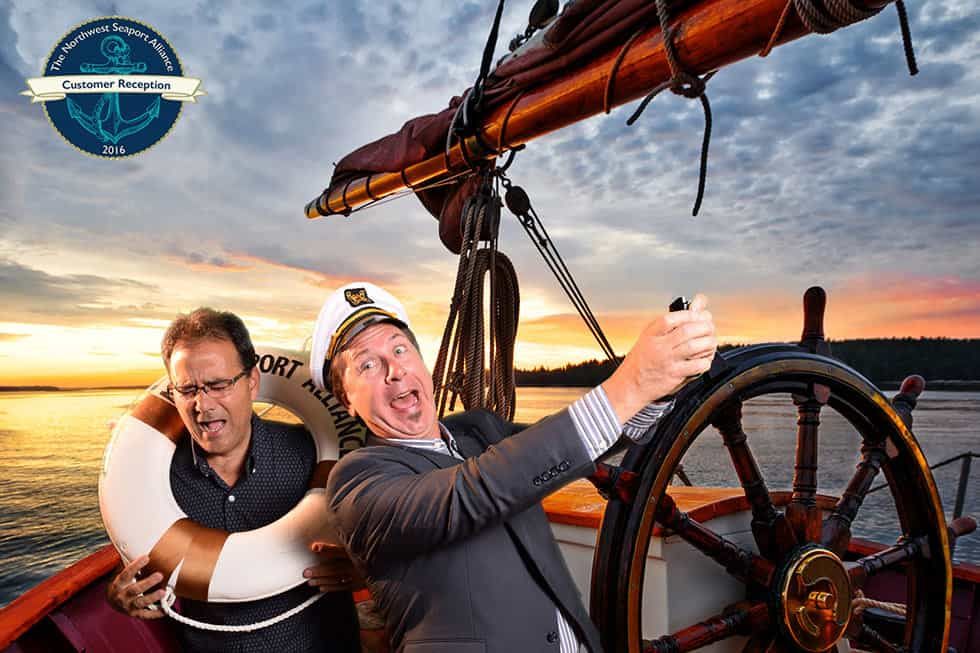 Two men on a boat green screen photography