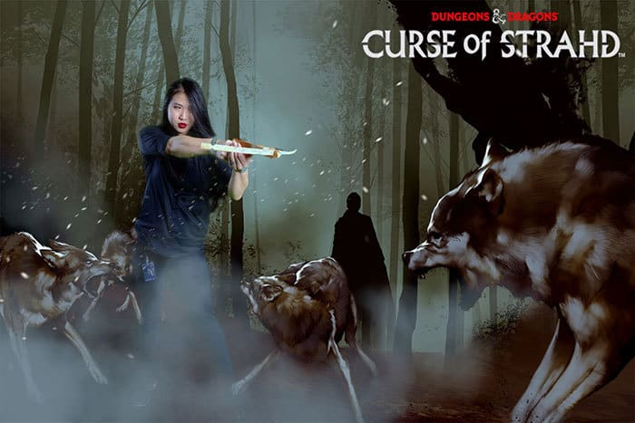 Curse of Strad Wizards of the coast women with a cross bow and wolf