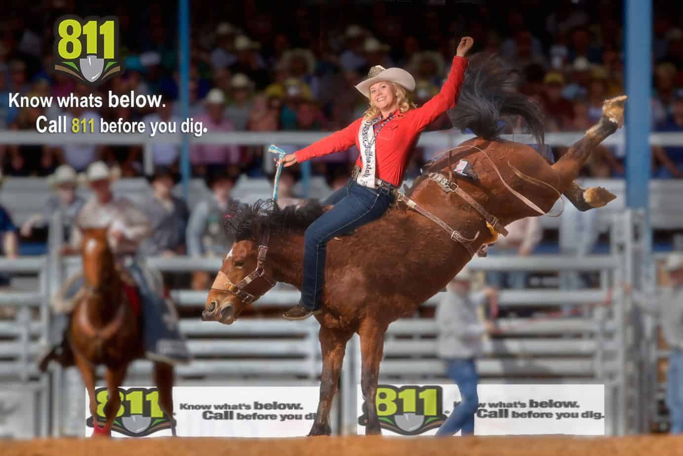 Rodeo Queen on bucking bronco for Washington 811 photo activation