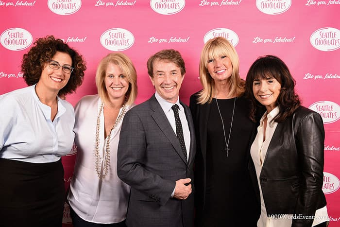 Martin Short and 4 women on the red carpet at the Gildas Club Luncheon in Seattle