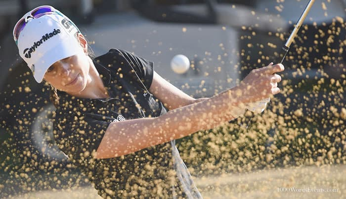 LPGA Player hitting out of the sand at the Portland classic