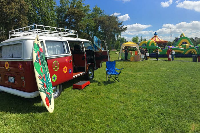 VW Van Photo booth at a spring carnival at Clover PArk Technical Collegee